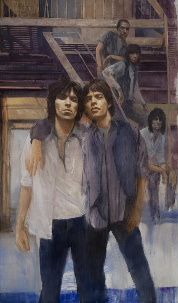 Robert hunt, rolling stones, mick jagger, painting, rolling stone