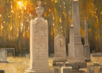 Robert Hunt, painting, cemetery