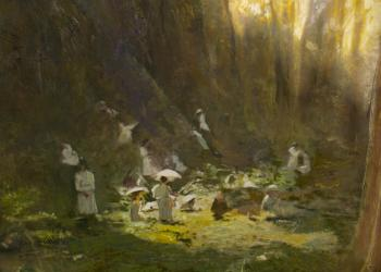 Robert hunt, painting , Picnic at Hanging Rock